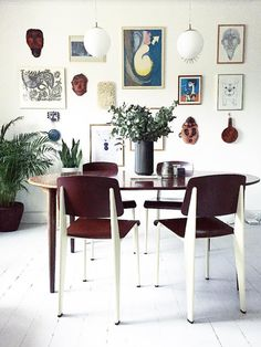 my scandinavian home: Gallery wall and retro finds in the dining room in the relaxed Danish home of Line Stützer
