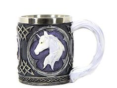 Black and White Purple Celtic Mug with White Unicorn Head by Bellaa *** Be sure to check out this awesome product.Note:It is affiliate link to Amazon.