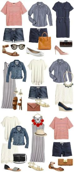 Trendy Holiday Outfits Women Capsule Wardrobe 58 Ideas - Taking a vacation can often be considered as a break from business and the crowd of the city,. Travel Packing Outfits, Packing Clothes, Travel Outfit Summer, Travel Capsule, Summer Travel, Summer Holiday Outfits, Holiday Outfits Women, Dress Clothes For Women, Travel Clothes Women
