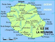 La Reunion Carte De La Reunion Saint Denis France Mascareignes