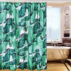 Creative & Smart Shower Curtain - 100% High-Grade Polyester Material, Amazing Exotic Rainforest Banana Leaf Pattern, Waterproof & Heavy-Duty Design, Bathroom Curtain Hooks Included, 180cm X 180cm: Amazon.co.uk: Kitchen & Home