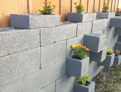 DIY cement block garden <3