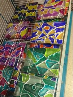 Tin foil, yarn, cardboard, and sharpies. This makes a cool low relief sculpture. Start by teaching about line variations, and color schemes (monochromatic, analogous, etc.). Cool project for 6-7th grade.