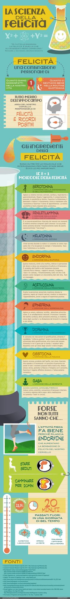 The science of happiness – Esseredonnaonline infographic – Health and Wellness Science Of Happiness, Health And Wellness, Health Fitness, Wellness Quotes, Neurone, Stress, Learning Italian, Good To Know, How To Stay Healthy