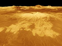 Our Planet Venus - Volcano on VenusA volcano named Sapas Mons dominates this computer-generated view of the surface of Venus. Lava flows extend for hundreds of kilometers across the fractured plains shown in the foreground to the base of the mountain, which measures 248 miles across 0.9 mile high.