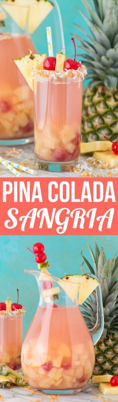Super easy and tropical 5 ingredient pina colada sangria! Super easy and tropical 5 ingredient pina colada sangria! Alcohol Drink Recipes, Sangria Recipes, Party Recipes, Sangria Recipe Easy, Tropical Sangria Recipe, Easy Punch Recipes, Party Drinks Alcohol, Margarita Recipes, Cocktail Recipes