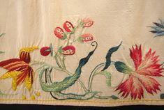 Maria Niforos - Fine Antique Lace, Linens & Textiles : Early Items # EI-13 Fine 18th C. English Embroidered Silk Apron