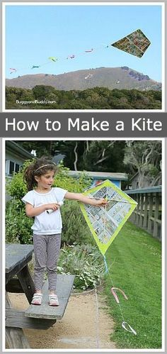 How to Make a Kite- fun science and craft for kids and the whole family for spring or summer! Use newspaper or a garbage bag to make your very own kite! Summer Activities, Craft Activities, Outdoor Activities, Family Activities, Kites For Kids, Art For Kids, Kite Buggy, Fun Crafts, Crafts For Kids