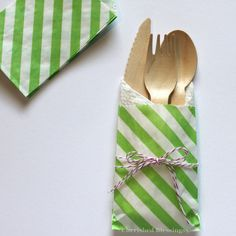 10 Silverware Flatware Bags w/ Wood Wooden by CherishedBlessings, $12.99