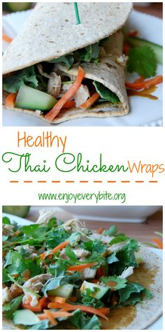 Chicken & veggie wraps with a healthy peanut dipping sauce - takes only 15 minutes to make!