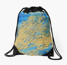 'Gold and Blue Abstract ' Drawstring Bag by JuliaFineArt Framed Prints, Canvas Prints, Art Prints, Blue Abstract, Art Boards, Drawstring Backpack, Chiffon Tops, Duvet Covers, Stickers