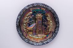 Excited to share the latest addition to my #etsy shop: Fenton Amethyst Carnival Glass Collector Plate ~ Christmas in America Series ~ No. 1 ~ The Little Brown Church in the Vale https://etsy.me/2GKTyHz #art #mixedmedia #christmas #amethyst #carnivalglass #fenton #littl