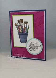 Blog Post Date:  September 19, 2017.  This jar of paint brushes reminds me of the thousands of hours my Mom devoted to designing and painting over the years.  Elements of this card include:  Crafting Forever stamp set, Naturally Eclectic Designer Series Paper, Layering Circles and Stitched Shapes Framelits for the Big Shot, and the colors of Basic Black Archival, Berry Burst, Crumb Cake, Lemon Lime Twist, Night of Navy, Sahara Sand, Smoky Slate, Soft Sky, Soft Suede, and Tranquil Tide.