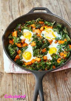 Sweet Potato & Crispy Kale Breakfast Skillet--Paleo, Gluten free ...