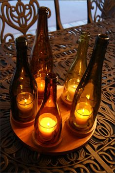 Wooden Stand Wine Bottle Candleholder, Wine Bottle Decor, Hurricane Candleholder, Wooden Candle Stand, Repurposed Decor, Wine Lovers Gift. $100.00, via Etsy.