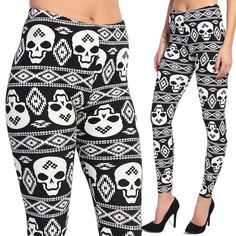 TheMogan Rocker Skull Printed Pull On Stretch Ankle Leggings in Clothing, Shoes & Accessories, Women's Clothing, Leggings | eBay