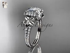 14kt white gold diamond floral wedding ring, engagement ring with cushion cut moissanite ADLR148 - Wedding and engagement rings (*Amazon Partner-Link)