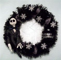 Jack Skellington NIGHTMARE BEFORE CHRISTMAS Wreath. $55.00, via Etsy.