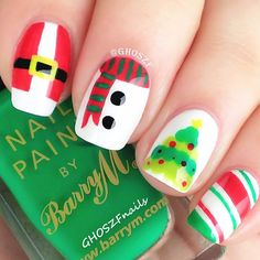 If you want to make a statement on this Christmas have a look to 74 easy and creative holiday nail designs and wonderful Christmas nail art ideas. Nail Designs 2015, Christmas Nail Art Designs, Holiday Nail Art, Simple Nail Art Designs, Winter Nail Designs, Pretty Designs, Easy Designs, Christmas Design, Santa Nails