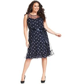 Jessica Howard Plus Size Dress, Sleeveless Dot-Print Belted - Plus Size Dresses - Plus Sizes - Macy's