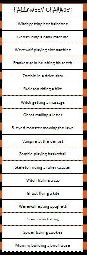 Halloween Charades Game - Moms & Munchkins.  Not Halloween. Adult and kid characters