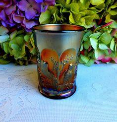 Beautiful Vintage Northwood Carnival Glass Tumbler ~ Singing Birds ~ Amethyst #Northwood