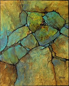"""Geologic Abstract Painting, """"Geologic Abstract Demo"""" © Carol Nelson Fine Art"""