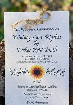 Rustic wedding invitation - sunflower design + twine bow {Sarah Whitmeyer Photography}