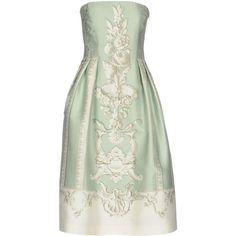 Alberta Ferretti Knee-length Dress (65,180 INR) ❤ liked on Polyvore featuring dresses, light green, zip dress, alberta ferretti, green sleeveless dress, sleeveless dress and deep v-neck dress
