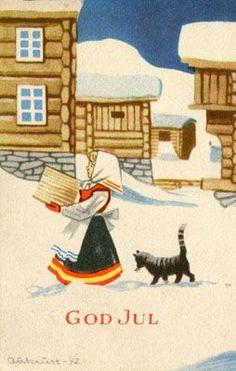 Norwegian Christmas, Scandinavian Christmas, Christmas Cats, Christmas Stuff, Swedish Christmas Traditions, Vintage Christmas Cards, Christmas Postcards, Merry Christmas And Happy New Year, Japanese Artists