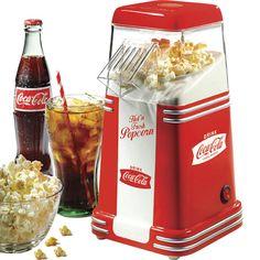 Mini Coca Cola Hot Air Popcorn Popper Machine, Small Retro Home Pop Corn Maker | eBay