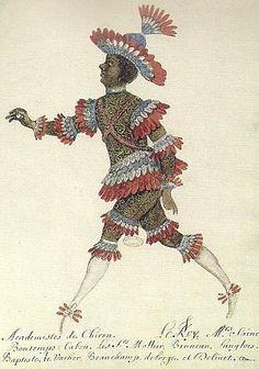 Costume, Académiste de Chiron, créé pour le Roi pour le ballet des Noces de Pélée et de Téthys.