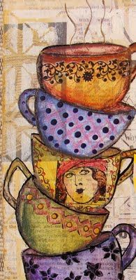 My Art Journal: Not Enough Hours.....fabric tea cups would make this soooo...cute!!