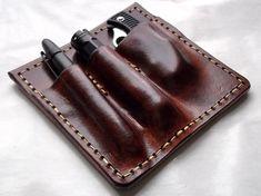 custom leather pocket protector organizer knife pen flashlight