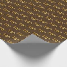 Brown Faux Gold 10th (Tenth) Event Wrapping Paper - anniversary gifts ideas diy celebration cyo unique