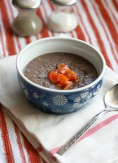 3-ingredient Black Bean Soup: black beans, an onion, and salsa verde