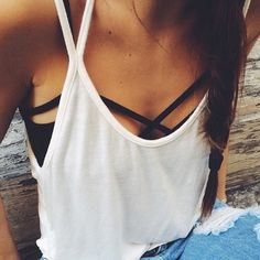 F A S H I O N ☮ ❁ ғollow ↠ @ladyѕcorpιo101 ↞ on pιnтereѕт & ιnѕтagraм ғor мore ιnѕpιraтιon ☪ ☆ Love the strappy bra, takes a plain style to a more fashionable level!