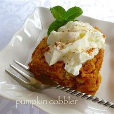 "Pumpkin Cobbler | ""All of the flavor of a traditional pumpkin pie with all of the spices and just a hint of citrus from the orange extract. "" -lutzflcat"