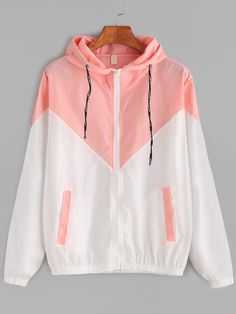 Dotfashion Color Block Contrast Drawstring Hooded Zip Up Pink Jacket Female Casual Coat 2019 Autumn Clothing Spring Outerwear Source by clothing Pink Jacket, Jacket Style, Coats For Women, Jackets For Women, Windbreaker Outfit, Mode Mantel, Cute Jackets, Spring Outfits, Hooded Jacket