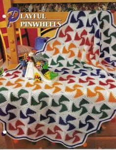 Playful Pinwheels Afghan Crochet Pattern Annies Attic Crochet & Quilt Club