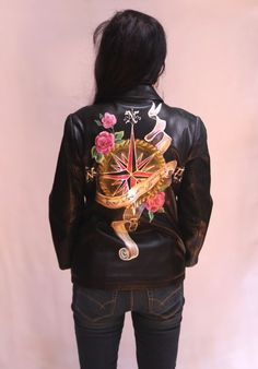 Hand Painted Leather Jacket - I know where i'm going - Antique Compass #BananaRepublic #Motorcycle