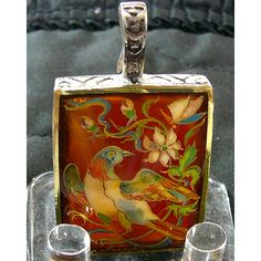Bird Hand Painted Cameo Pendant 925 Sterling Silver Bird/Flower... ($65) ❤ liked on Polyvore featuring jewelry