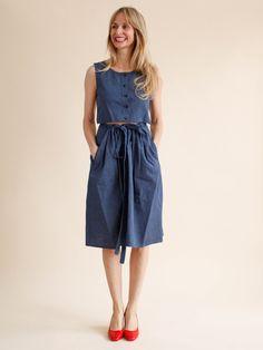 Caron Callahan Ripley Dress - Indigo Cotton Stripe