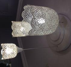 Lampe crochet à rigidifier avec au choix sucre,fécule,colle à papier peint Lampe GOA muno lampe luminaire crochet