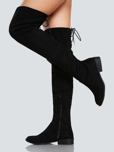 Online shopping for Faux Suede Back Lace Up Thigh High Boot BLACK from a great selection of women's fashion clothing & more at MakeMeChic. Thigh High Boots Flat, Black High Boots, Black Heels Low, High Heel Boots, Knee Boots, Heeled Boots, Platform Boots, Look Boho, Black Women Fashion