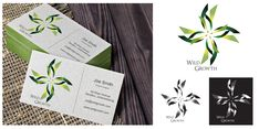 Organic, nature inspired vector logo design. Business card mock up