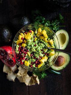 Mango Pomegranate Guacamole by katieatthekitchendoor #Guacamole #Mango #Pomegranate #Healthy