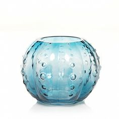 Beach Walk Collection (Online & Catalog Exclusive) : Blue Glass Sea Urchin Tea Light Candle Holder : Yankee Candle