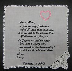 Mother of the Bride Handkerchief from Bride with by CannStitch, $40.00