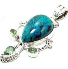 Beautiful item with azurite, Peridot Faceted Gemstone(s) set in pure 925 sterling silver.